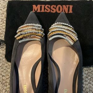 Missoni Point Toe Ballet Flats  - Grey